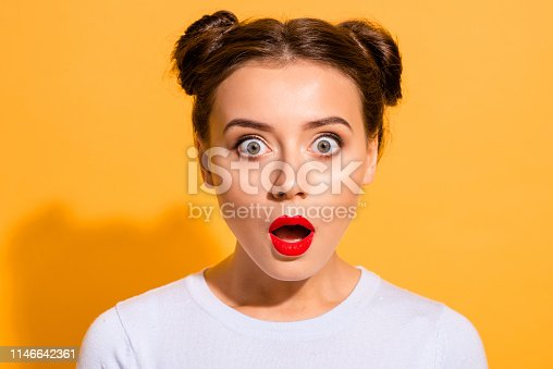 Close-up portrait of her she nice attractive lovely puzzled girl opened mouth stunning news isolated over bright vivid shine yellow background.