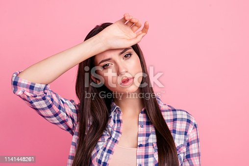 Close-up portrait of her she nice-looking attractive cute charming shine bored sad straight-haired lady having high temperature isolated over pink pastel background.