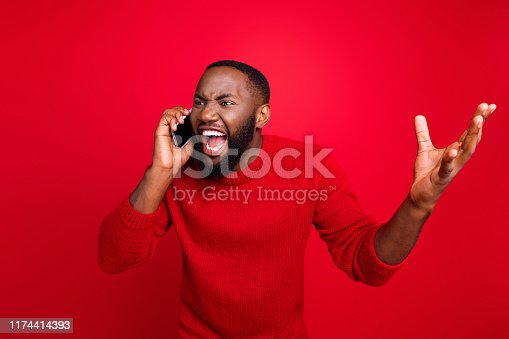 Close-up portrait of his he nice attractive annoyed irritated outraged bearded, guy chatting having fight scolding isolated over bright vivid shine red background