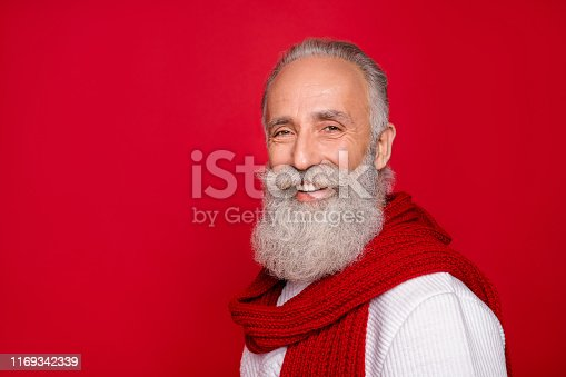 1165538246 istock photo Close-up portrait of his he nice attractive well-groomed trendy fashionable cheerful cheery gray-haired man isolated over bright vivid shine red background 1169342339