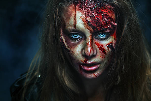 close-up portrait of horrible zombie woman. horror. halloween - zombie apocalypse stock photos and pictures