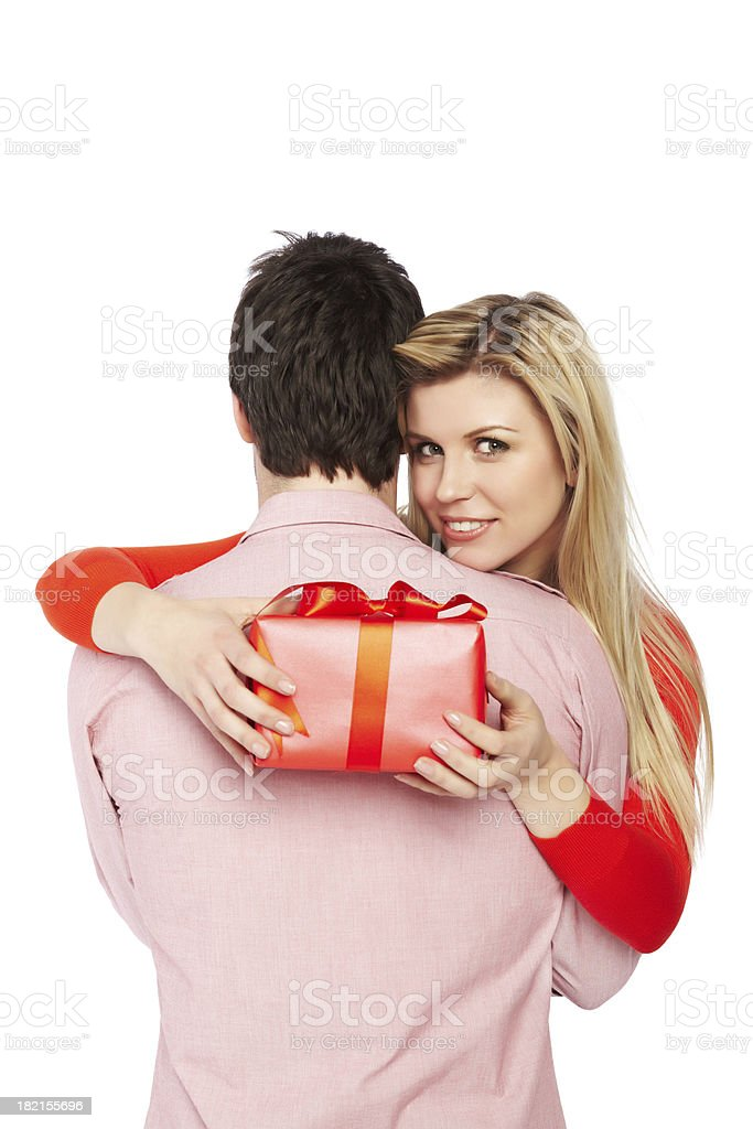 Closeup portrait of loving young couple hugging royalty-free stock photo