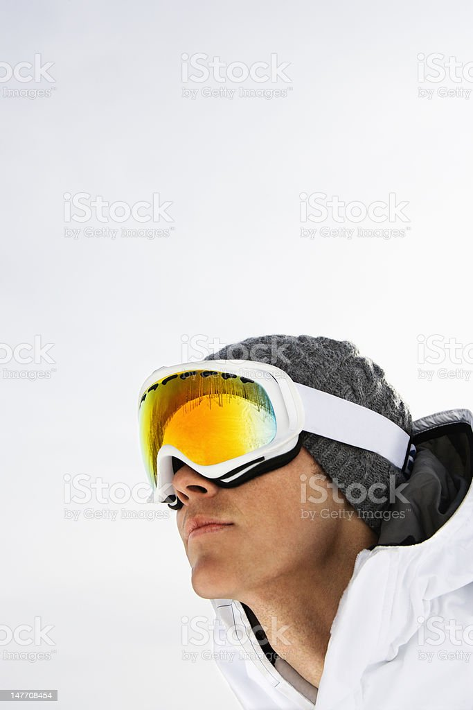 Close-up Portrait of Male Skier stock photo