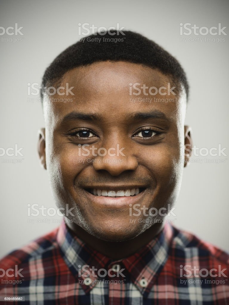 Close-up portrait of man smiling stock photo