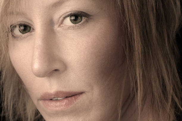 Close-up Portrait of Mature Woman stock photo