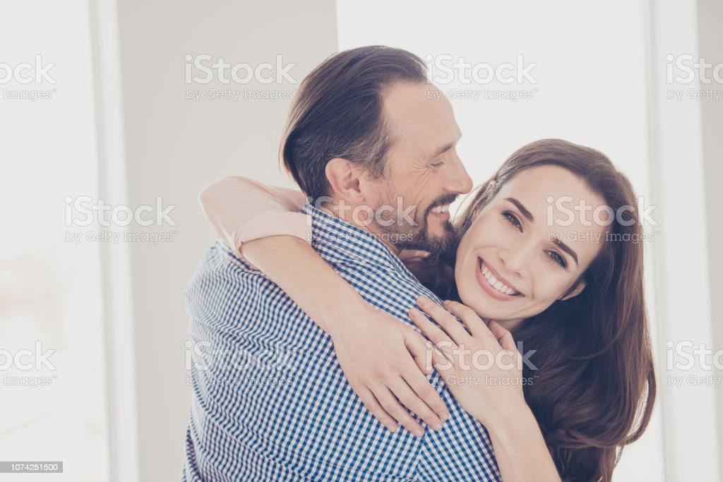 Close-up portrait of nice lovely adorable beautiful charming att stock photo