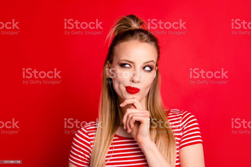 Close-up portrait of nice shine cute funny adorable charming att stock photo