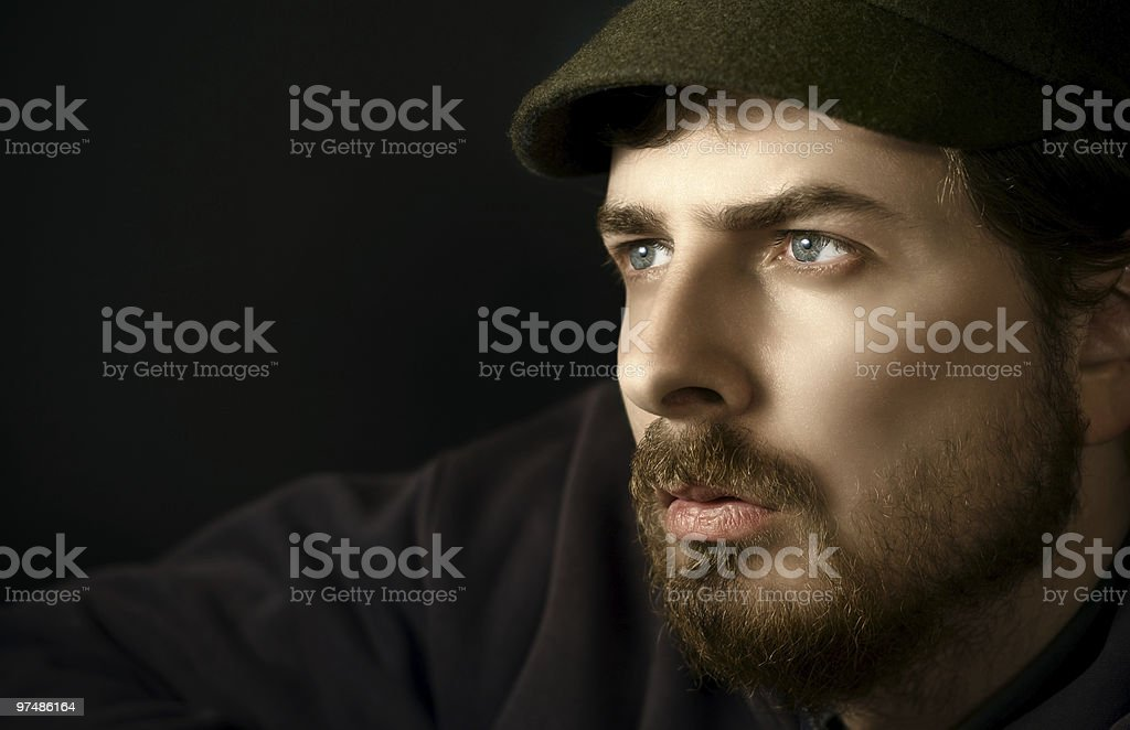 Close-up portrait of pensive man royalty-free stock photo