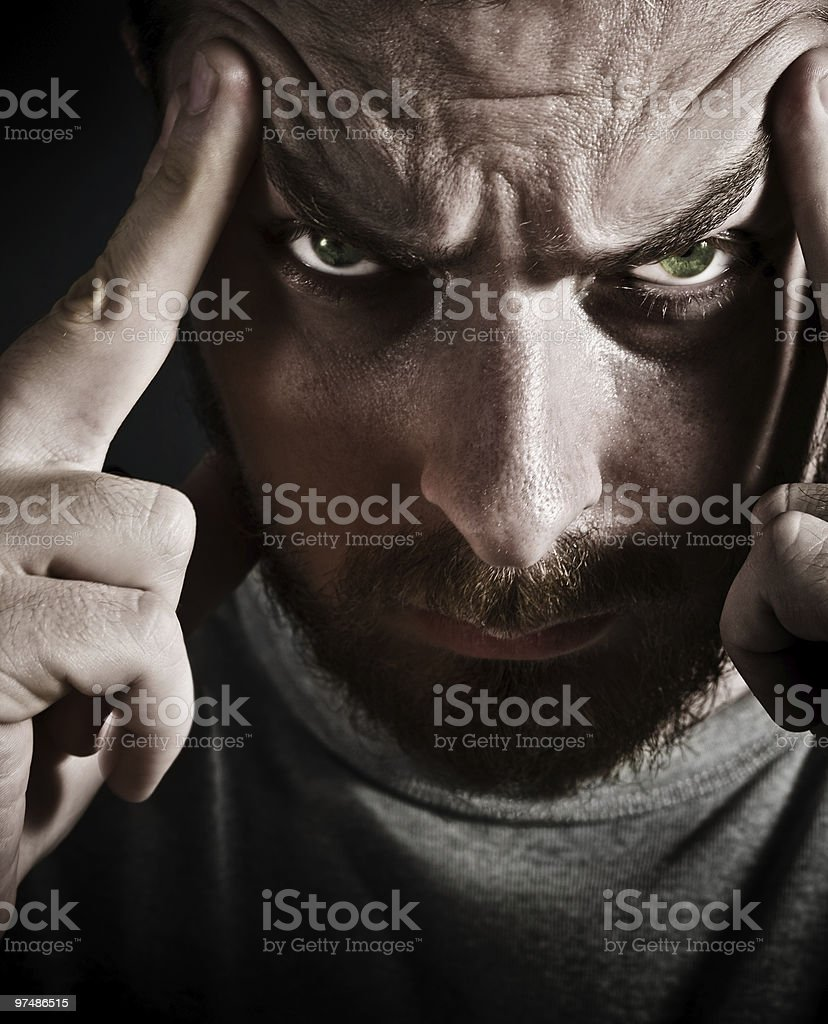 Close-up portrait of scary stressed man royalty-free stock photo