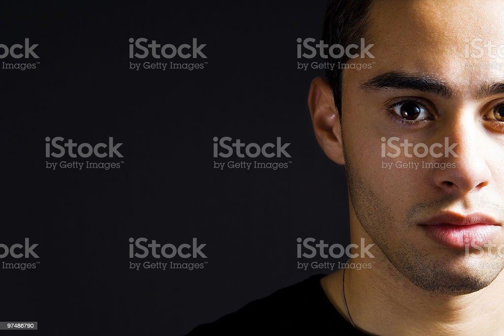 Closeup portrait of serious hispanic man royalty-free stock photo