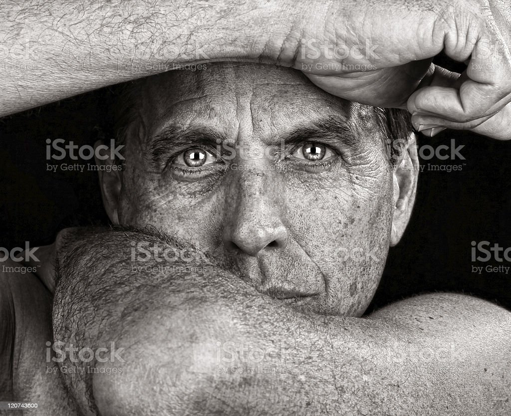 Close-up portrait of serious looking man royalty-free stock photo