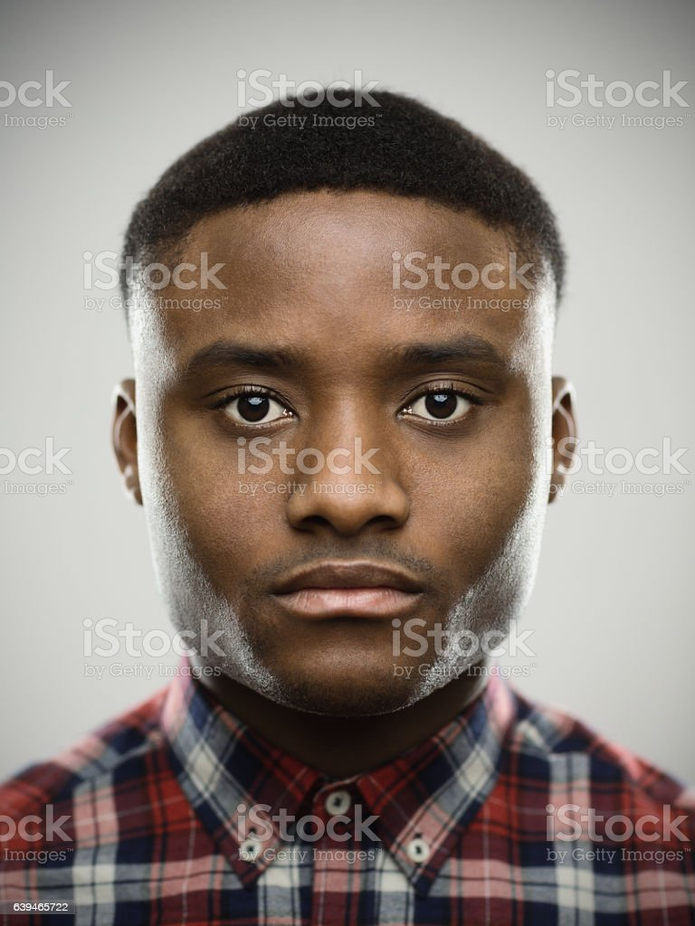 Close-up portrait of serious man stock photo