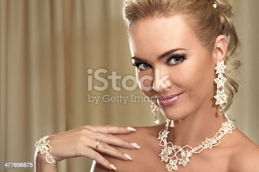 istock Close-up portrait of the happy beautiful bride showing a wedding 477696675
