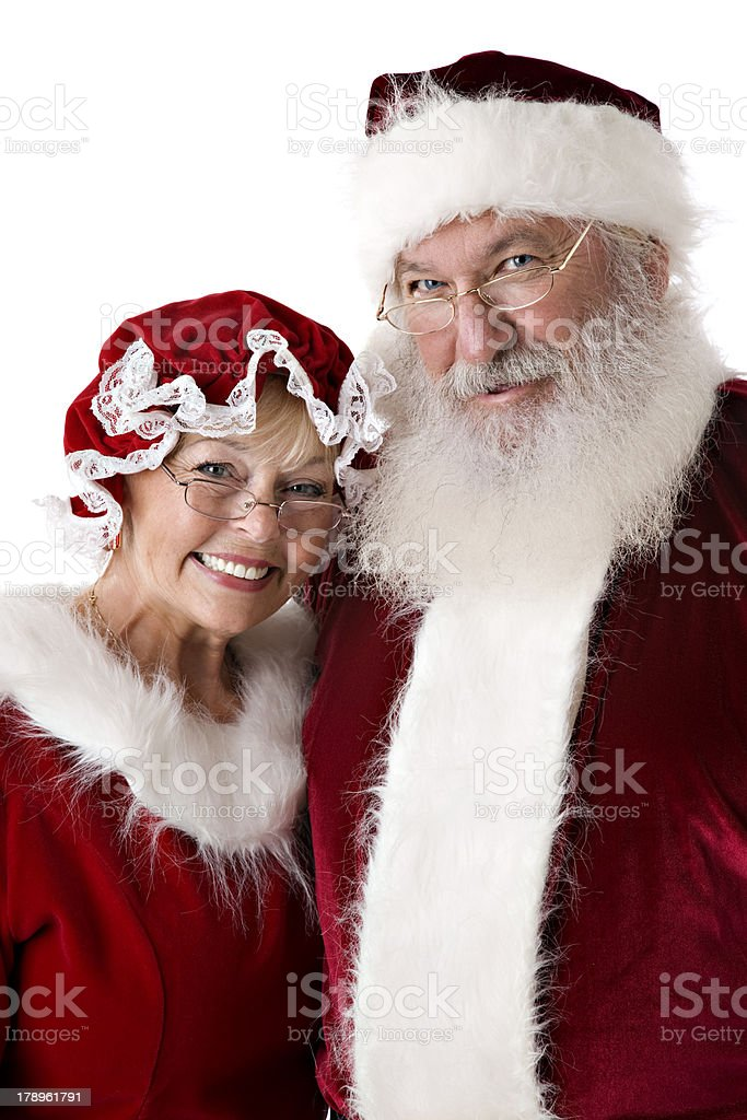 Closeup Portrait of the Real Santa and Mrs. Claus stock photo