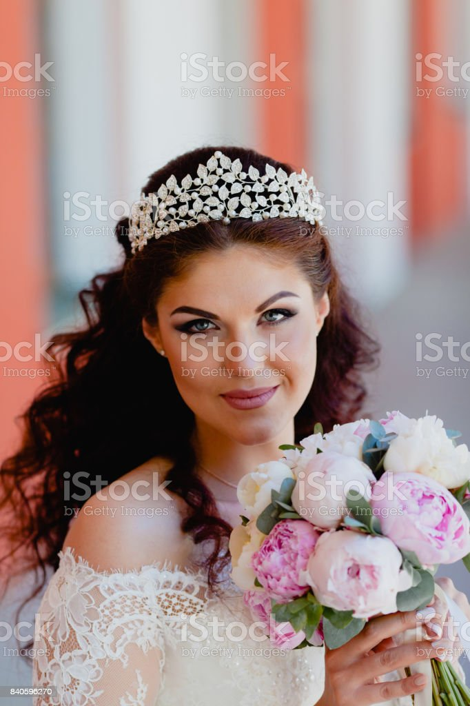 Close-up portrait of very beautiful bride stock photo