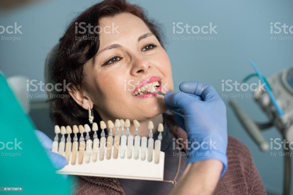 Portrait de gros plan de femme au bureau de la clinique dentaire. Dentiste, vérifiant et en sélectionnant la couleur des dents, rendant le processus de traitement. Art dentaire photo libre de droits