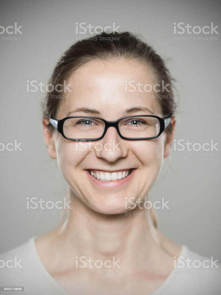 Close-up portrait of woman smiling stock photo