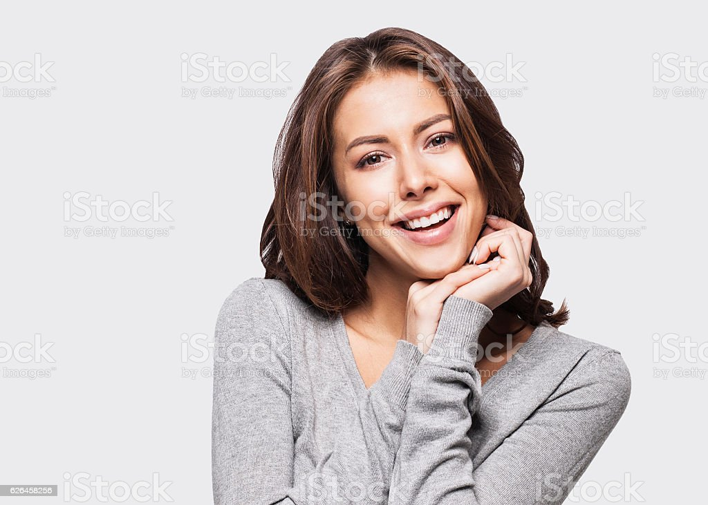 Close-up portrait of woman touching her face Lizenzfreies stock-foto