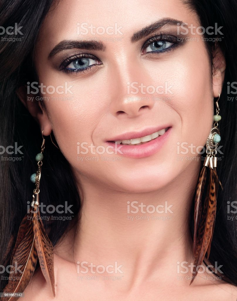 Closeup Portrait Of Young Beautiful Woman Dark Hair Blue Eyes And