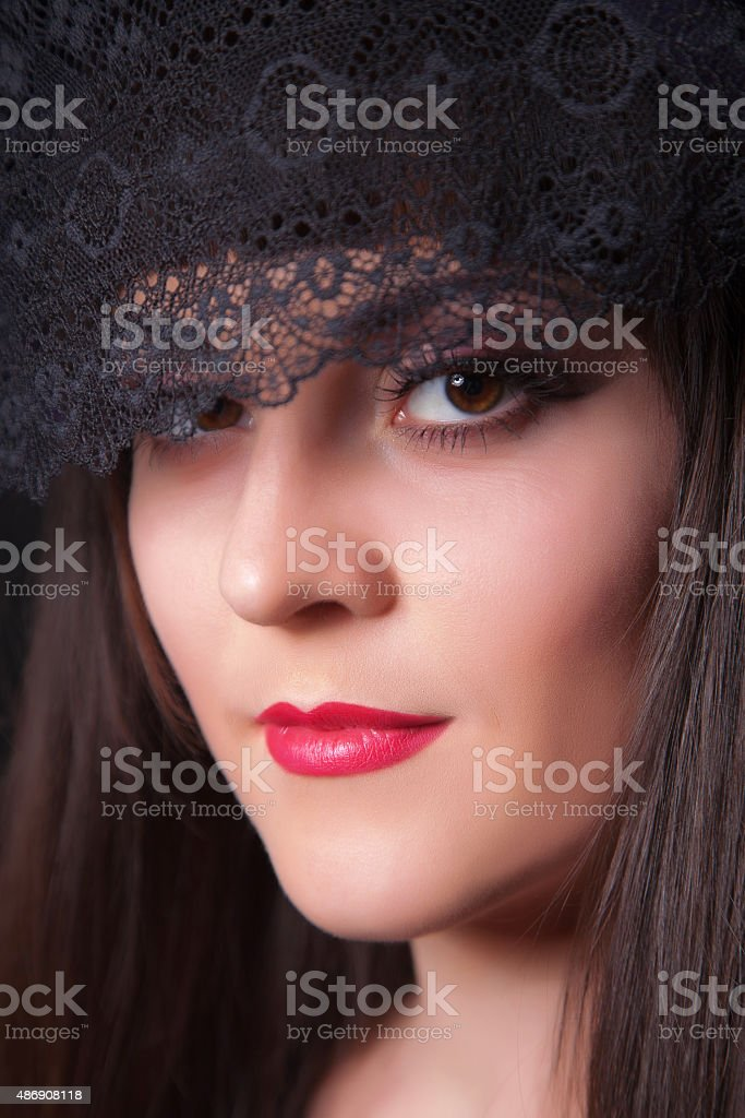 Close-up portrait of young beautiful woman stock photo