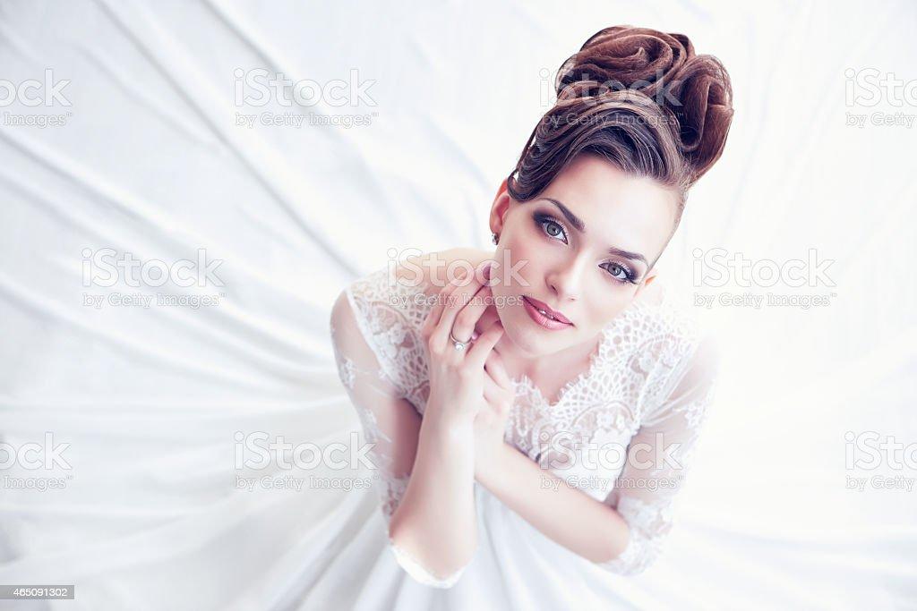 Closeup portrait of young gorgeous bride stock photo