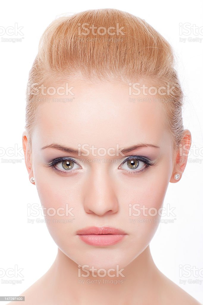 closeup portrait of young woman stock photo