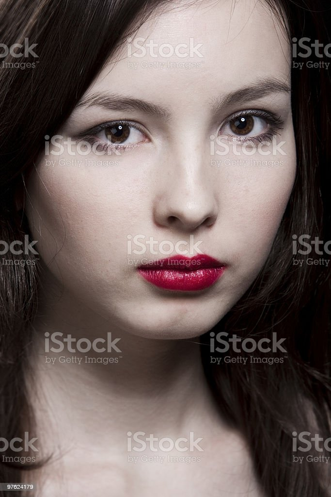 Closeup portrait of young woman royalty-free stock photo