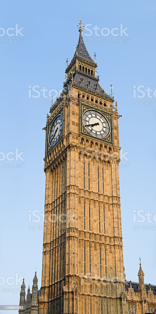 Close-up portrait shot of the Big Ben in London royalty-free stock photo