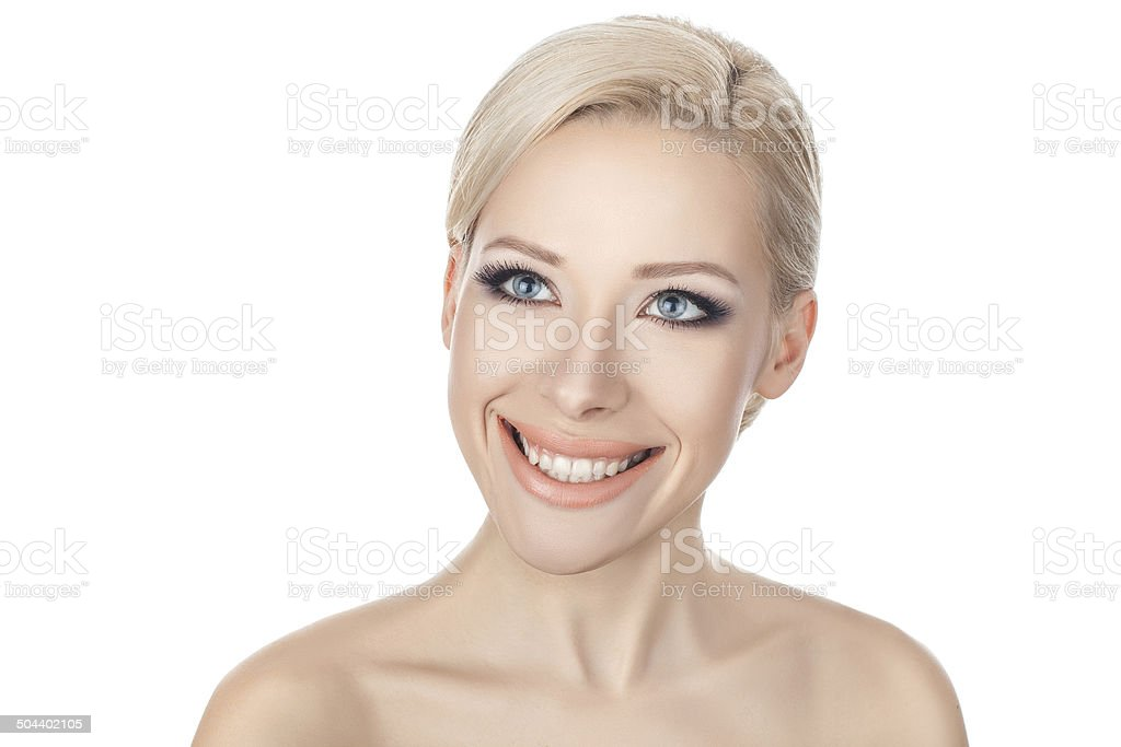 Close-up portraits of the smiling blonde. stock photo