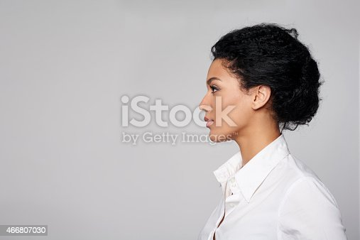 istock Closeup profile of business woman looking forward 466807030