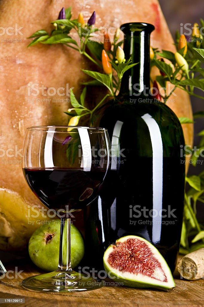 Closeup Prosciutto (Italian Ham) with  Red Wine royalty-free stock photo