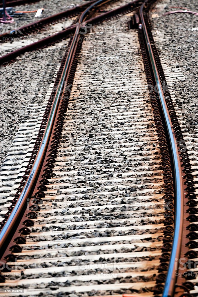 Closeup railway lines royalty-free stock photo