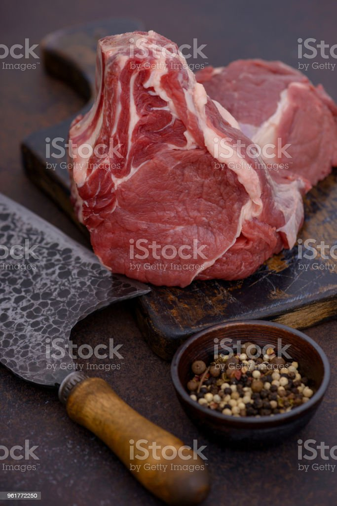 Close-up raw beef meat ready to cook stock photo