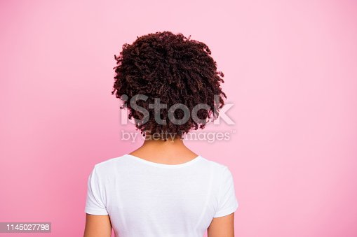 Close-up rear back behind view portrait of her she nice-looking well-groomed attractive wavy-haired girl after salon procedure isolated over pink pastel background.