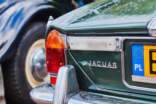 Closeup rear view of old vintage bottle green Jaguar XJ12 car Lviv, Ukraine, June 5, 2016: Closeup rear view of old vintage Jaguar XJ12 car released circa 1975 in England. jaguar xj stock pictures, royalty-free photos & images