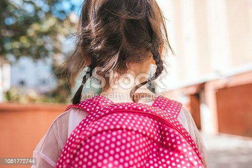 istock Closeup rear view portrait of cute little girl preschooler posing outdoor with pink backpack against blurred building. Happy kid toodler girl walking after learning school lessons. People, education 1051772744