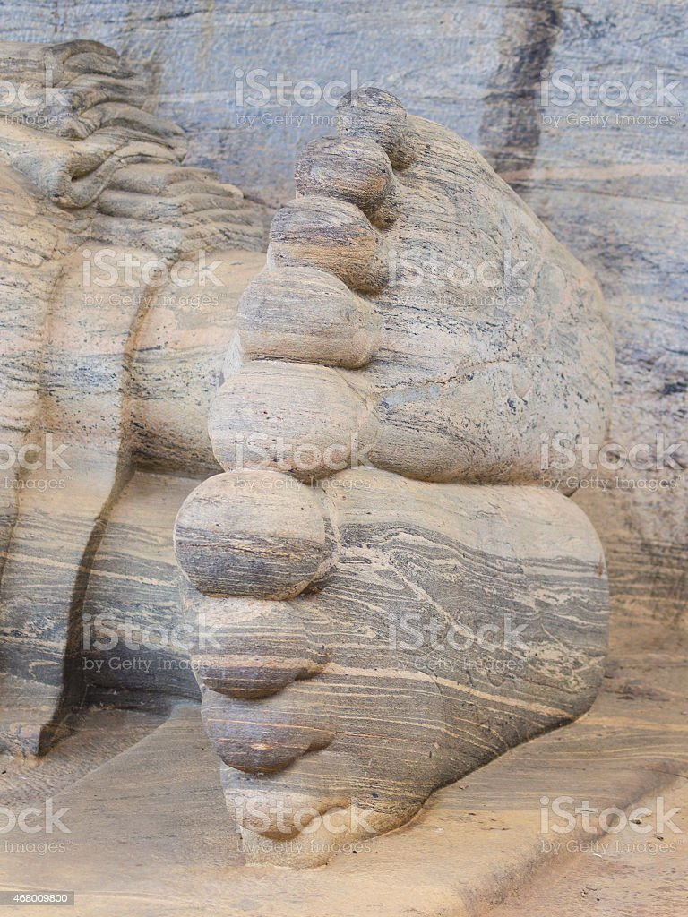 Close-up Reclining Buddha legs, Gal Vihara in Polonnaruwa stock photo