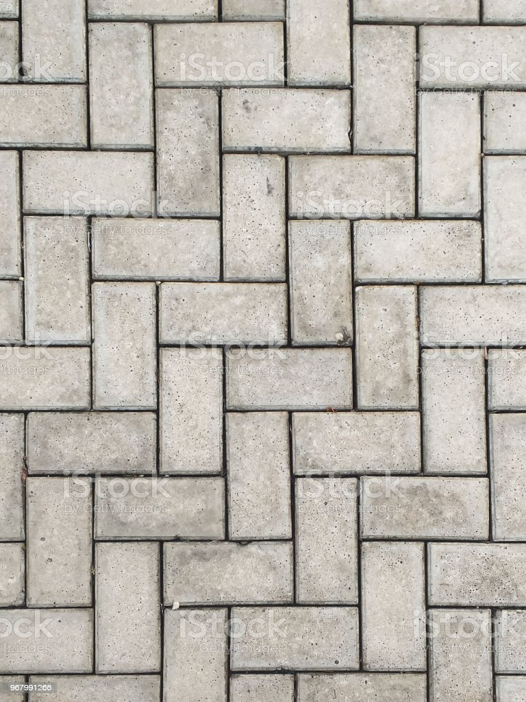 Close-up rectangular concrete block blocks zig-zagged. stock photo