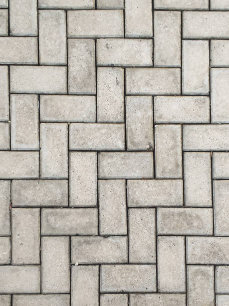 Close-up rectangular concrete block blocks zig-zagged. stock photo