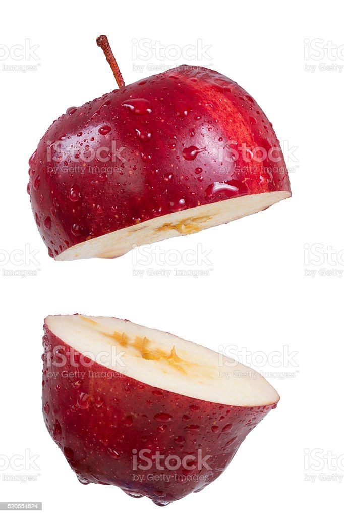 Closeup red apple slice isolate on white stock photo