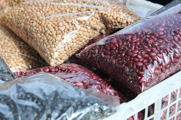 Close-up, red beans, black bean, white beans. Agriculture product grains. stock photo