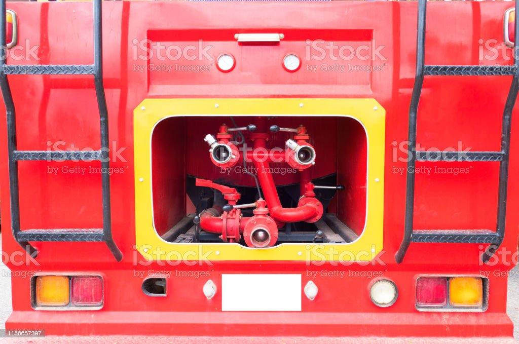closeup Red fire truck and fire hose ,fire & rescue .
