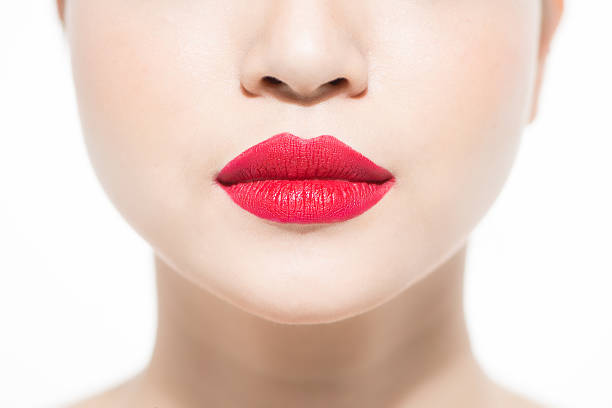 Closeup red lips stock photo