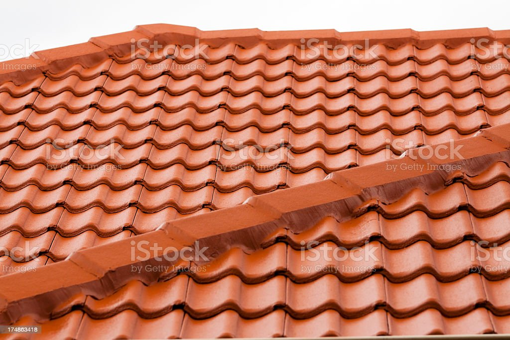 Closeup roof with red terracota roof tiles royalty-free stock photo
