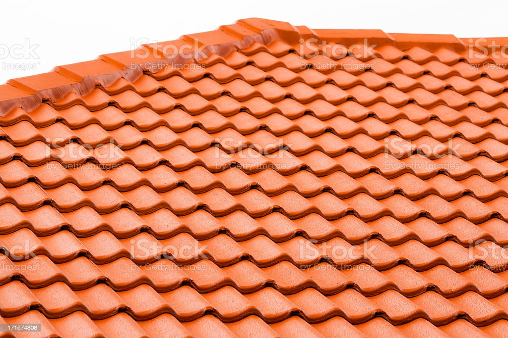 Closeup roof with red terracota tiles, copy space stock photo