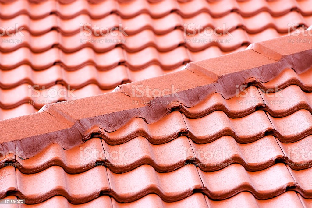Closeup roof with red terracotta roof tiles royalty-free stock photo