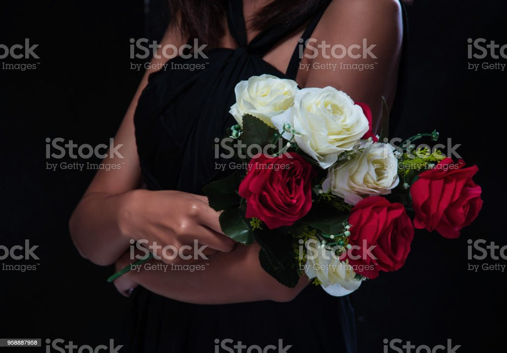 Closeup Rose Bouquet In Lady Handred And White Rose Sign And Symbol