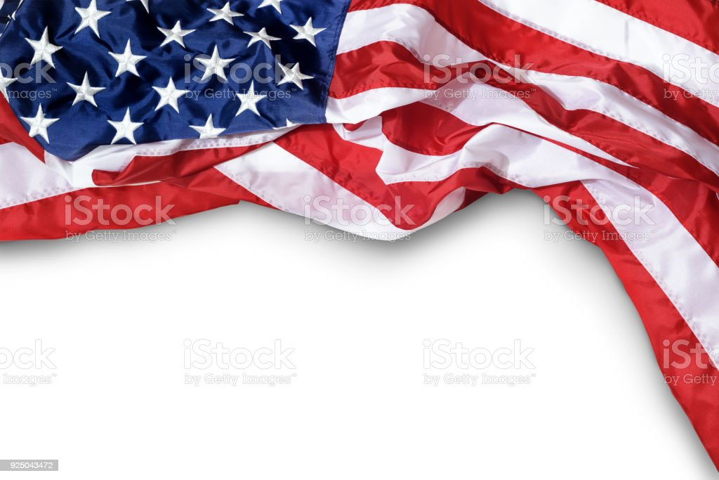 Closeup ruffled American flag isolated on white background stock photo