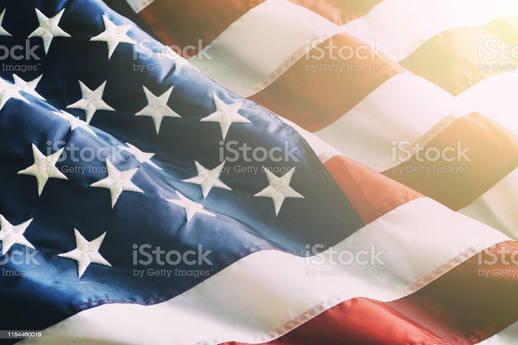 Closeup ruffled American flag Closeup ruffled American flag American Flag Stock Photo