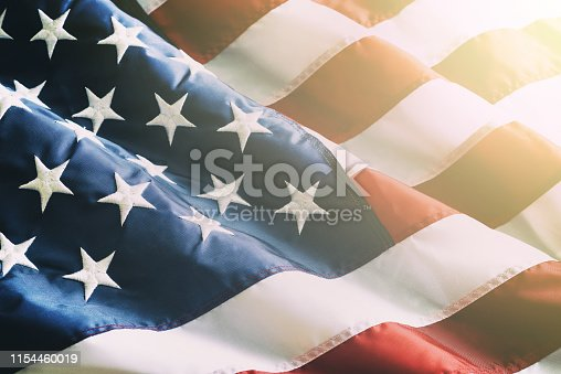 Closeup ruffled American flag